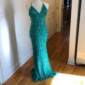 Green Sequin Evening Gown